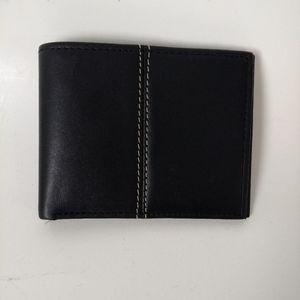 Genuine leather black wallet minimalist design